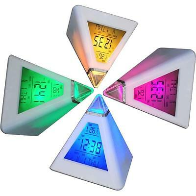 Fashion 7 LED Changing Color Pyramid Digital LCD Alarm Desk Clock Thermometer@MW