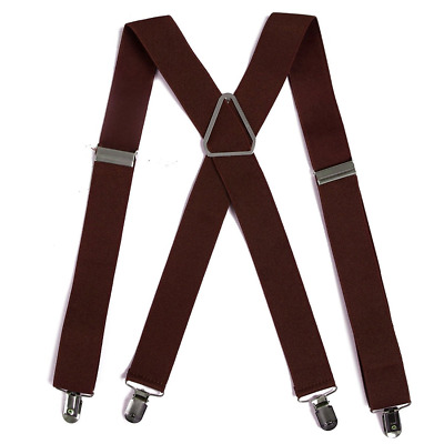 """Men's Big and Tall X-Back Clip Suspenders 1.5"""" Wide Adjustable 55"""" Long brown"""