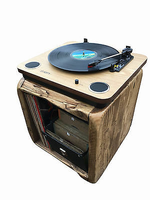 Record Player Stand,Vintage Wooden Cube,Holds LP's and Turn Table,Floor standing