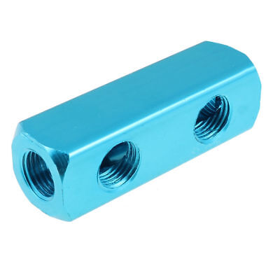 "1/4""BSPT Threaded 2 Way Quick Connect Air Hose Manifold Block Blue"