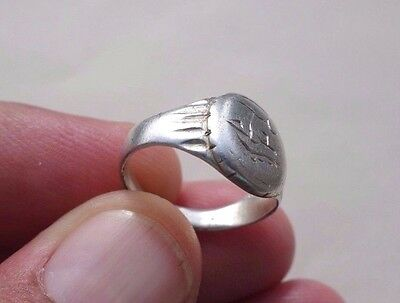 ancient Byzantine-Middle Ages silver nicely engraved ring,date circa XV AD