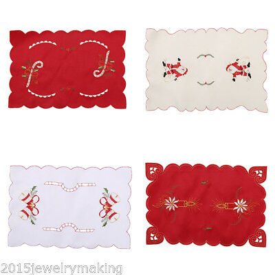 Christmas Dinner Mat Cushion Embroidered Dining Pad Placemat Home Table Decor
