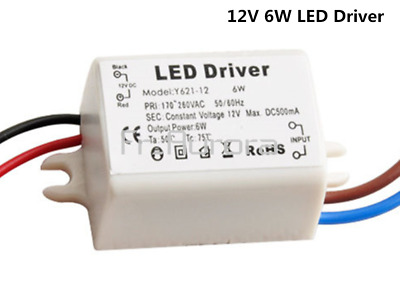 6W Watt High Power LED Driver Constant Current AC170V-260V 50-60Hz 500mA DC 12V
