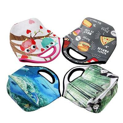 Girls Boys Kids Lunch Bag Zip Neoprene Thermal Insulated Cooler Carry Bag Tote H