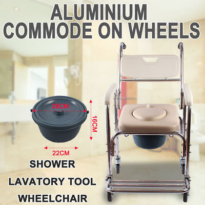 Timsolo Mobile Shower Commode Chair Bedside Bathroom Toilet Chair Wheelchair NEW