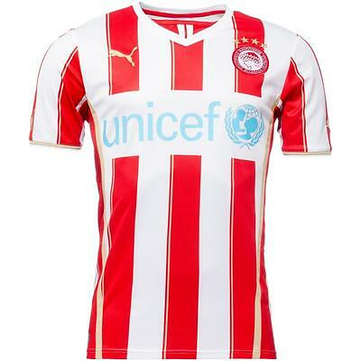 Olympiacos Puma Home Football Shirt Red White striped team Jersey 2013-14 Small