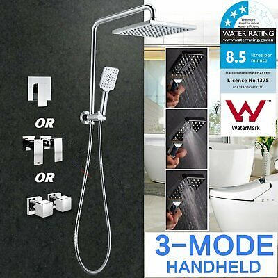 Bathroom Square Shower Head Handheld Gooseneck Wall Arm Diverter Set /Mixer/Taps