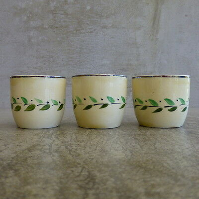 3 Vintage Myott Pottery Egg Cups  England Hand Painted leaf pattern Cream Green