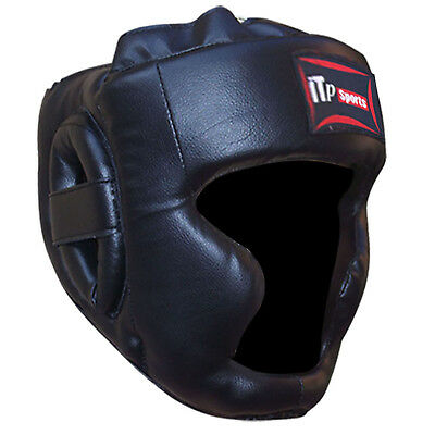 Rex Leather Boxing Head Guard / Helmet Face Protection Guard Adults BLACK