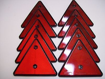 10 x Triangular  Red Reflectors for Trailers/Fencing/Posts/Gates/Driveways etc