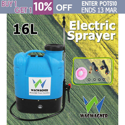 WACWAGNER 16L Electric Weed Sprayer Rechargeable Backpack Farm Garden Pump New