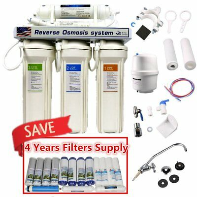 NEW 5 Stage Reverse Osmosis Drinking Water System + 4 Year Replacement Filters D