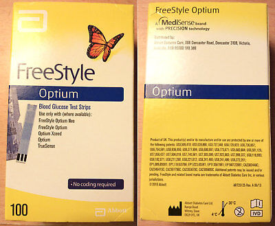 Abbott Freestyle Optium Blood Glucose Test Strips (Box of 100) - Brand New