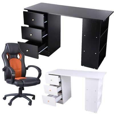3 Drawers Computer Desk Table Storage Cupboard & Office Gaming chair Armchair UK