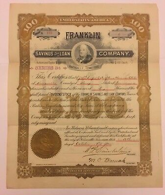 1895 Franklin Savings & Loan Co. Stock Certificate Knoxville Tennessee RARE Bank