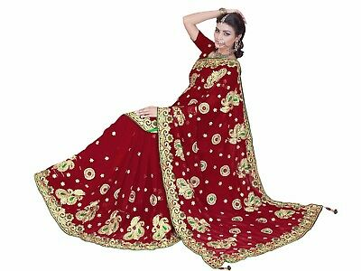 Designer Wedding Sari Red Faux Georgette Bollywood Embroidered Fancy Sari 4087