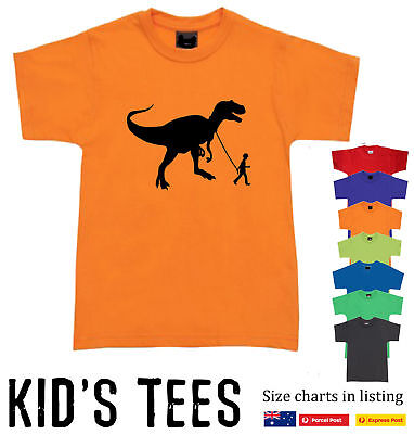 Dinosaur walking with boy Banksy T-Shirt Kid's Children's Funky retro tee size