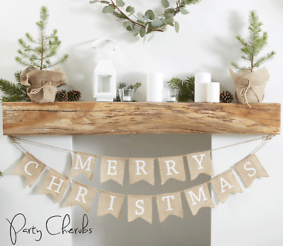 """Merry Christmas"" Rustic Look Hessian Bunting - Christmas Hanging Decoration"