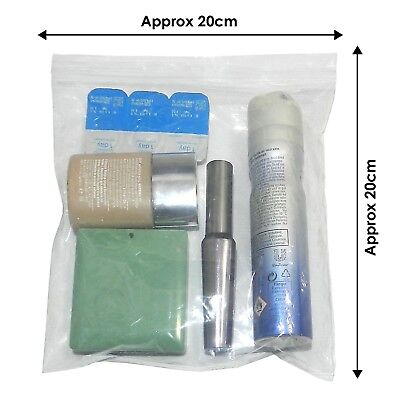 100x Airport Security Hand Luggage Liquid Bags Airport Secure Bags 20x20cm (F3)