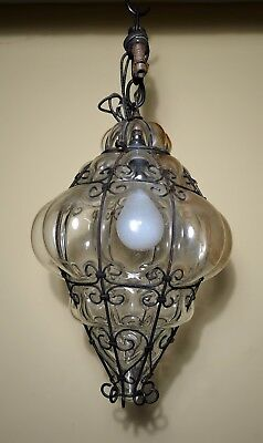Antique Vintage Ornate Blown Glass Wrought Iron Hanging Lamp Light