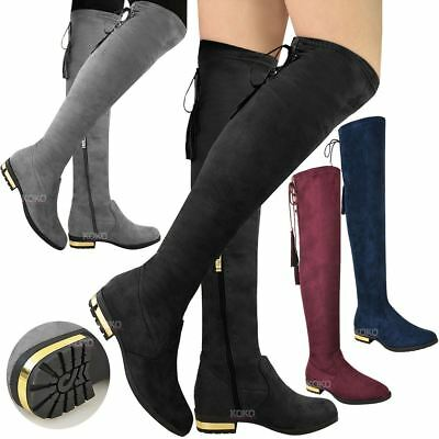 Ladies Womens Over The Knee Low Gold Heel Thigh High Boots Tassel Stretch Size