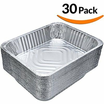 (30-Pack) Chafing Pans Disposable Aluminum Foil Steam Table Deep Pans, Half Size