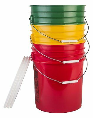 Hudson Exchange Bucket with Handle and Lid, 5 gal, 3 Pack, Green, Yellow and Red