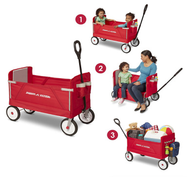Radio Easy Folding Wagon 3 in 1 Travel Utility Beach Collapsible Cart Outdoor
