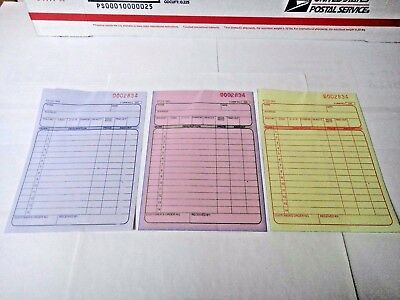 3 Part Sales Order Books Receipt Triplicate forms 30 sets Invoice US Seller
