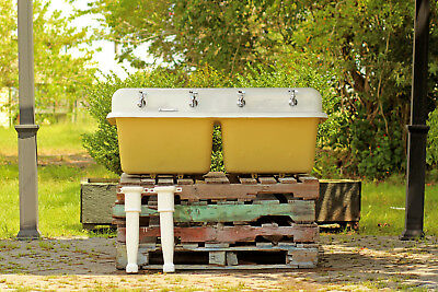 """53"""" Refinished Antique 1926 Deep Double High Back Legged Wall Farm Sink Package"""