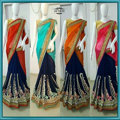 Saree Sari Beautiful Party  Wear Asian# Indian Pakistani Bollywood 4 Colors