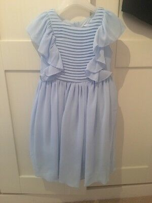 Beautiful Powder Blue Flower Girl Dress Age 5/6 With Large Bow On Back