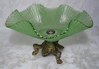 Antique Victorian Style Green Crystal Glass Bowl Candy Dish Metal Claw Foot Base