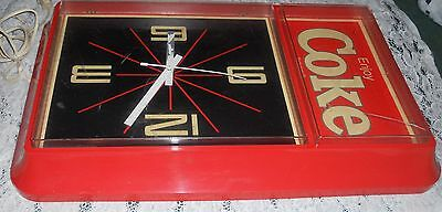 Large Plastic Coke Electric Wall Clock Damaged