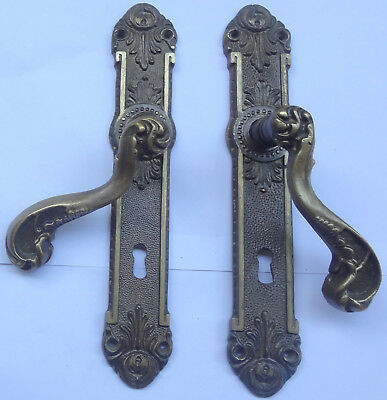 Fine Pair Vintage Solid Brass Door Lever Handles Set + Backplates Free Shipping
