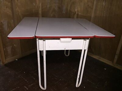Vintage 1940s Enamel Top Kitchen Extension Table White & Red Hairpin Chrome Legs