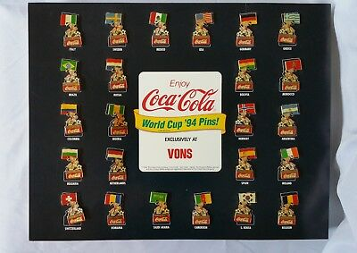 Coca Cola World Cup '94 Complete 24 PC Nations Set Pins FIFA Soccer 1994