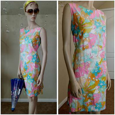 vintage 60s lined dress neon colors, By Anthony's size 14