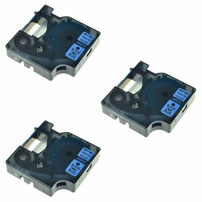 """3 Pack Black on Blue Label Tape For Dymo D1 45016 LabelPoint 150 LM 160 200 1/2"""""""