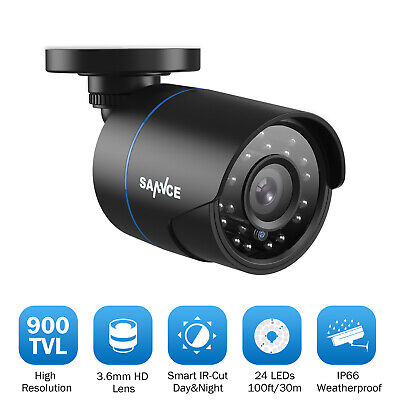 SANNCE 1x 900TVL Outdoor Indoor 100ft Night Vision Home Security IR CCTV Camera