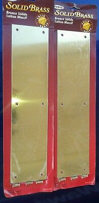 "NEW LOT OF 2 IVES Vintage Solid Polished Brass Door Push Plates 4"" X 16"" Made US"