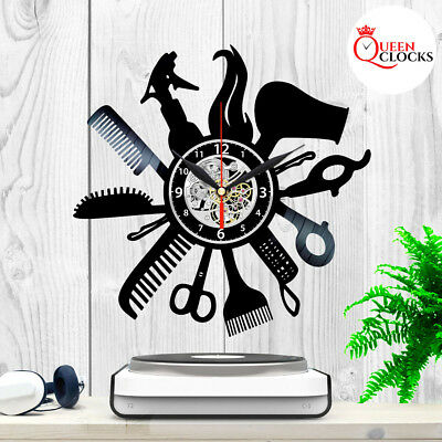 Barber Shop Clock Hairdresser Salon Vinyl Record Wall Art Home Decor Best Gifts
