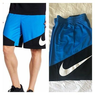 Nike HBR Men's Photo Blue/Black/White Basketball Shorts Size M New