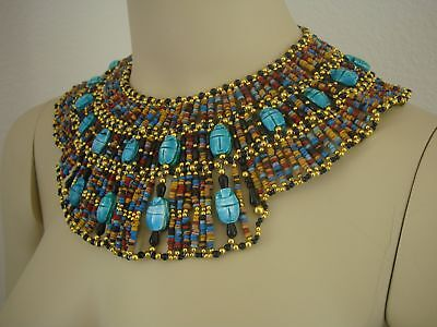 Beautiful Egyptian Hand Made 20 Scarabs Mummy bead Cleopatra Collar Necklace
