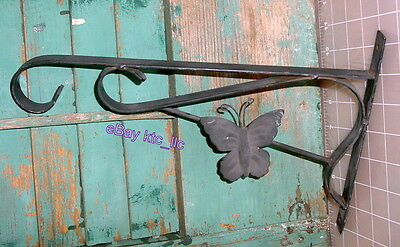 """EST COMM: vintage BLACK METAL wall bracket with butterfly / 12"""" arm FREE SHIP"""