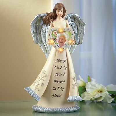 Lighted Memorial Angel Figurine w/ Picture Frame Beloved One Light Up Statue