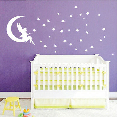 FAIRY WALL DECAL Girl\'s Bedroom Wallpaper Moon And Stars Removable Vinyl,  b19