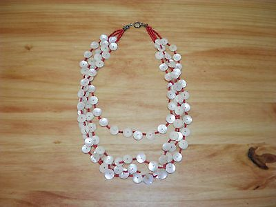 """Vintage Mother of Pearl & Coral 4 Strand Necklace Beach Island 24"""" Long 14"""" Drop"""