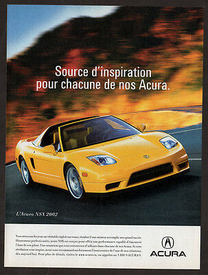 2002 ACURA NSX Original Print AD - Yellow car photo, road, speed, sport
