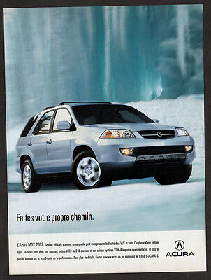 2002 ACURA MDX Original Print AD - Silver car photo, winter, snow, french canada